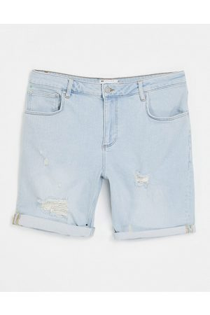 ASOS Stretch slim denim shorts in light wash with rips and abrasions-Blue