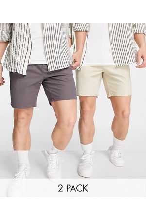 ASOS 2 pack cigarette chino shorts in charcoal and beige save-Multi