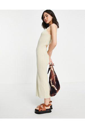 Pretty Lavish Billie cut-out rib knit midi dress in beige-Neutral