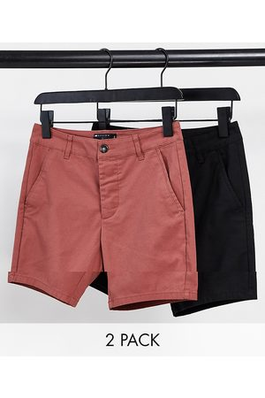 ASOS 2 pack skinny chino shorts in black and rust red save-Multi