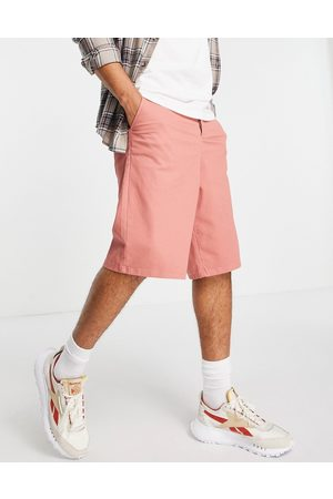 ASOS Wide chino shorts in rust-Red