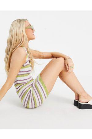 ASOS Knitted mini dress with halter neck in multi stripe