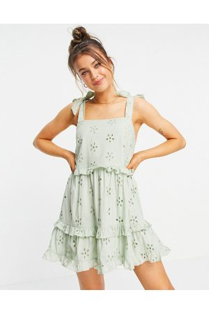 ASOS DESIGN Broderie ruffle swing mini sundress with tie straps in sage green