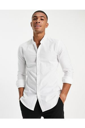 New Look Long sleeve muscle fit oxford shirt in white
