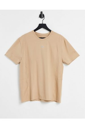 ASOS Easy fit yoga t-shirt in soft touch jersey-Neutral