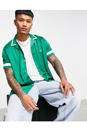 ASOS Actual relaxed revere bowling shirt with embroidery logo-Green