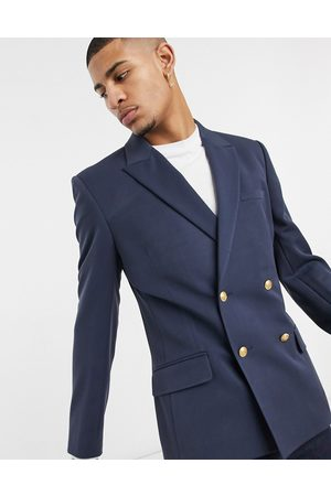ASOS Homem Blazers - Skinny double breasted blazer with gold buttons in navy