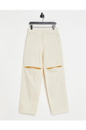 Weekday Brae organic cotton mid rise carpenter jeans with slit knee in vanilla-Neutral