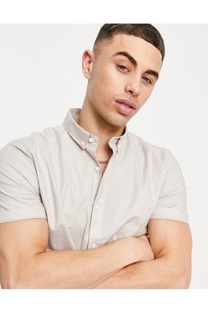 New Look Homem Formal - Short sleeve muscle fit oxford in stone-Neutral