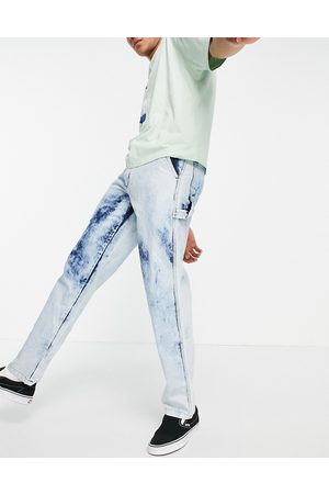Cat Footwear Caterpillar acid wash carpenter jeans in blue