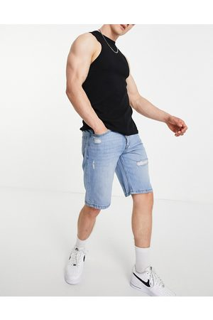 Only & Sons Denim loose fit shorts with rips in lightwash blue