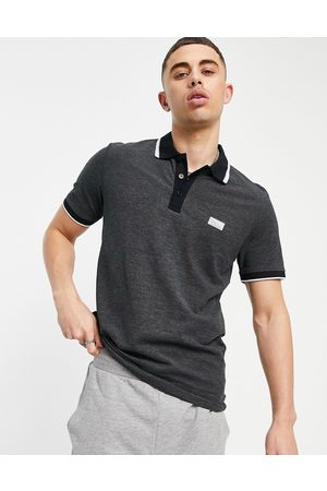 JACK & JONES Core tipped polo with rubber logo in black