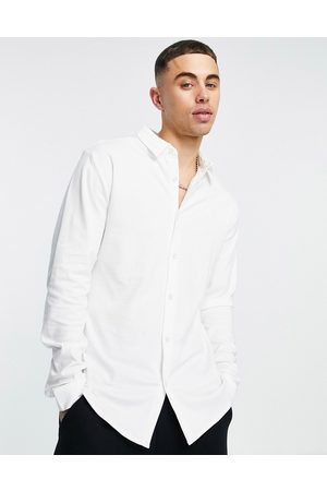River Island Long sleeve jersey fit shirt in white