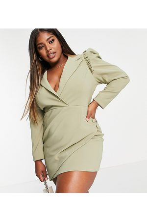 Lavish Alice Plus Puff sleeve asymmetric wrap blazer dress in pistachio-Green