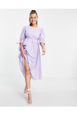 ASOS DESIGN Broderie maxi smock dress with open back in lilac-Purple