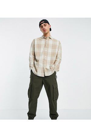 New Look Long sleeve oversized check shirt in stone-Neutral