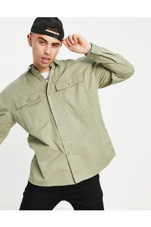 New Look Relaxed fit overshirt in washed khaki-Green