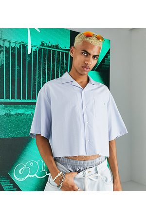 Collusion Cropped striped revere shirt with raw hem-Multi