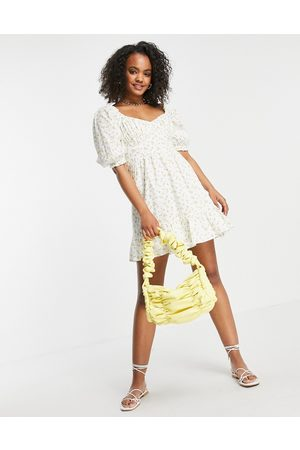 New Look Bust detail tiered mini dress in lemon print-White