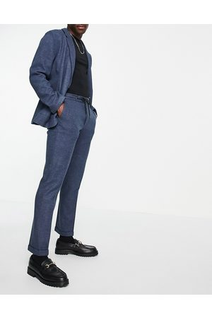 ASOS DESIGN Homem Calças Formal - Slim soft tailored jersey suit trousers in navy wide twill and drawcord waist-Blue