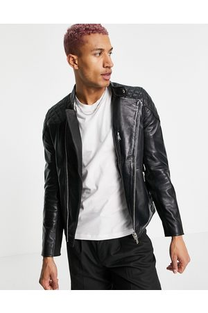 Bolongaro Quilted leather biker jacket-Black