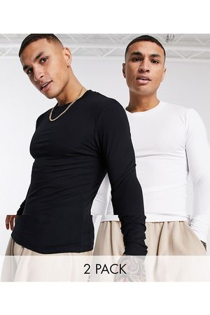 ASOS 2 pack muscle fit long sleeve t-shirt with crew neck-Multi