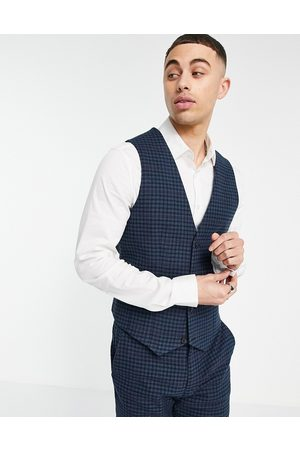 ASOS DESIGN Super skinny wool mix suit waistcoat with multi grid check in navy