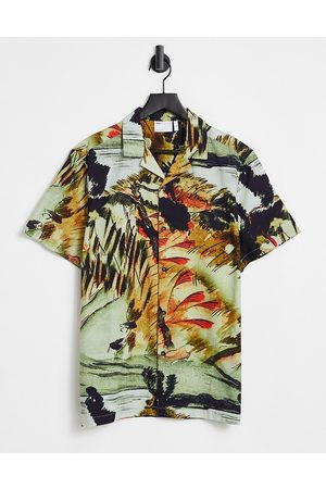 ASOS Relaxed revere cotton slub placement print shirt-Neutral