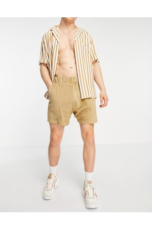 New Look Towelling pull on shorts in stone-Neutral