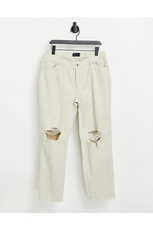 ASOS Hourglass mid rise '90's' straight leg jeans in putty with rips-White