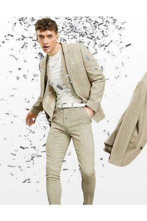 ASOS Super skinny wool mix suit trousers in oatmeal tweed-Neutral
