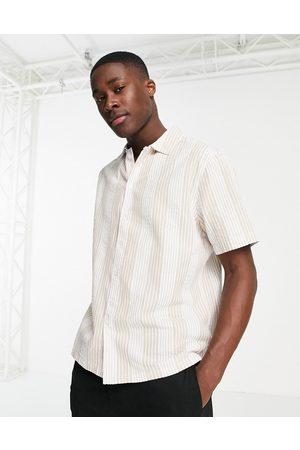 River Island Short sleeve seersucker stripe shirt in ecru-White