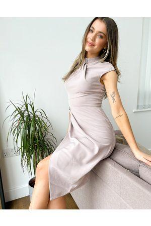 Little Mistress Twist front drape pencil dress in mocha-Neutral