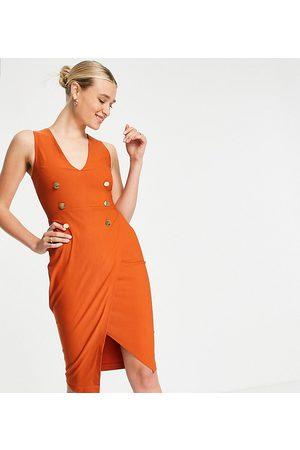 Vesper Tuxedo midi dress in rust-Orange