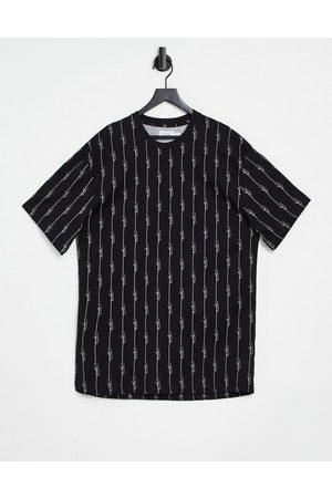Topman Pinstripe short sleeve loungewear t-shirt in black