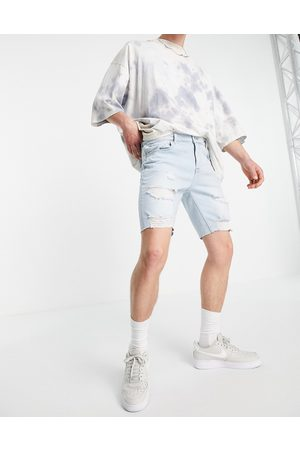 ASOS Skinny denim shorts in light wash with heavy rips-Blue