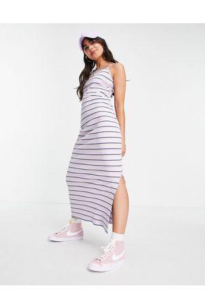 Nike Femme ribbed maxi dress in violet purple stripe