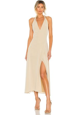 Vince Tie Back Paneled Halter Dress in - Neutral. Size L (also in S, XS, M).