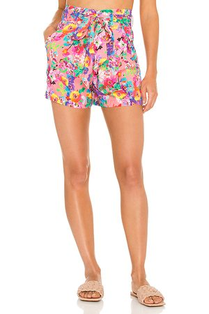 Luli Fama Tie Waist Bermuda Shorts in - Pink. Size L (also in XS, S, M).