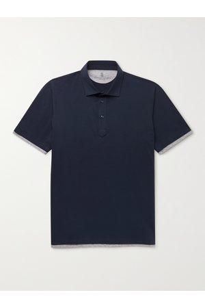 Brunello Cucinelli Slim-Fit Layered Cotton-Jersey Polo Shirt