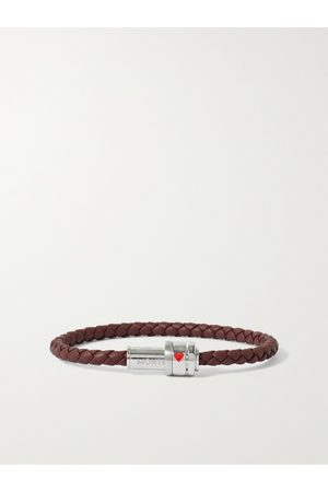 MONTBLANC Meisterstück Woven Leather and Stainless Steel Bracelet