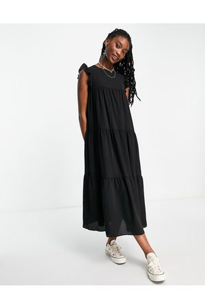 ASOS DESIGN Sleeveless tiered midi dress with frills in black