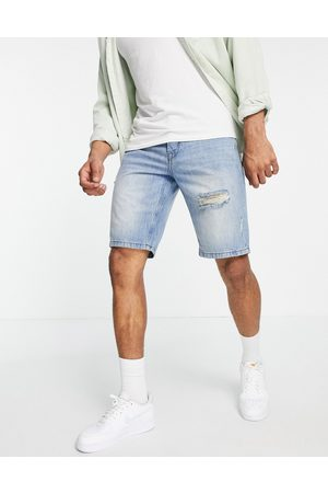 Only & Sons Loose fit denim shorts with rips in blue