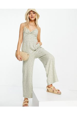 Abercrombie & Fitch Halter neck jumpsuit in green print