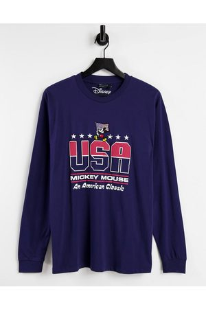 ASOS DESIGN Long sleeve t-shirt with Mickey US print in navy