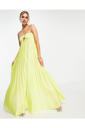 ASOS DESIGN Strappy halter twisted pleated maxi dress in lime-Green