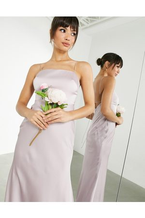ASOS EDITION Satin square neck maxi dress with tie back in pale lavender-Purple