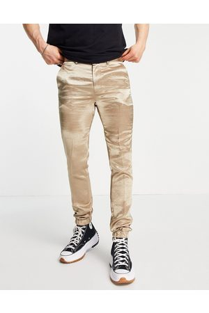 ASOS DESIGN Skinny satin smart jogger cuff trousers co-ord in beige-Neutral