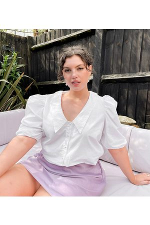 Simply Be Broderie collared blouse in white