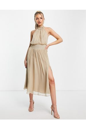 ASOS DESIGN High neck soft midi dress with shirred waist detail in stone-Multi